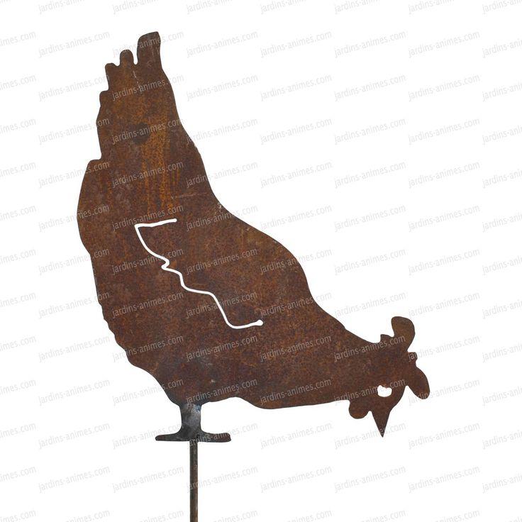 silhouette poule qui picore d co de jardin en m tal planters animaux et d co. Black Bedroom Furniture Sets. Home Design Ideas