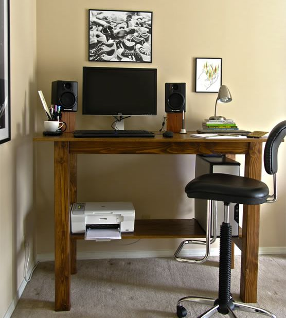 DIY standing desks - I like the one in the pic because you just need an tall chair with adjustable height to make it into a regular sitting desk