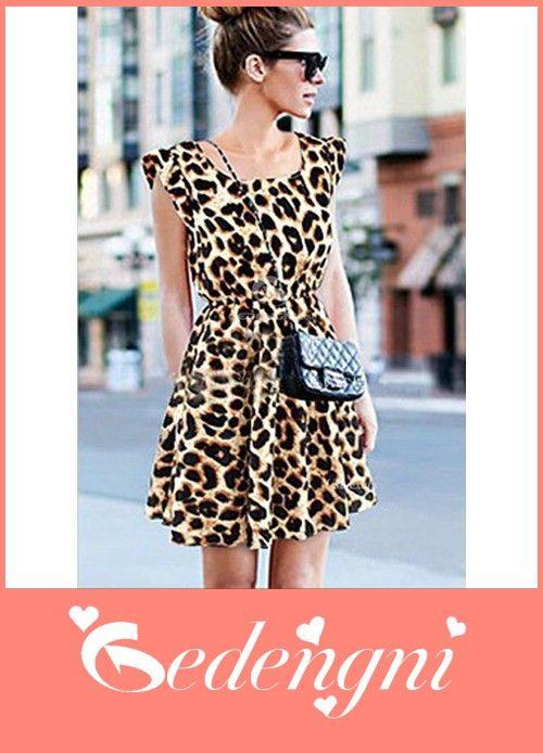 Buy Now Pleat Sleeves Leopard Skater Dress