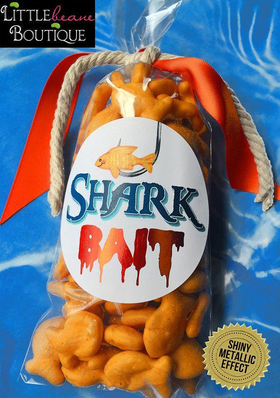 Shark Bait Stickers, Shark chum favors,Shark Party,Shark Stickers,Shark Birthday Party, Favor labels, shark Bait favors,Kids shark party