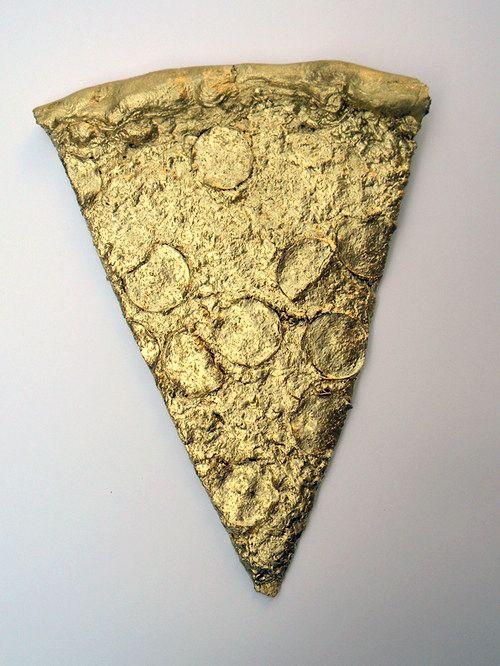 gold pizza slice