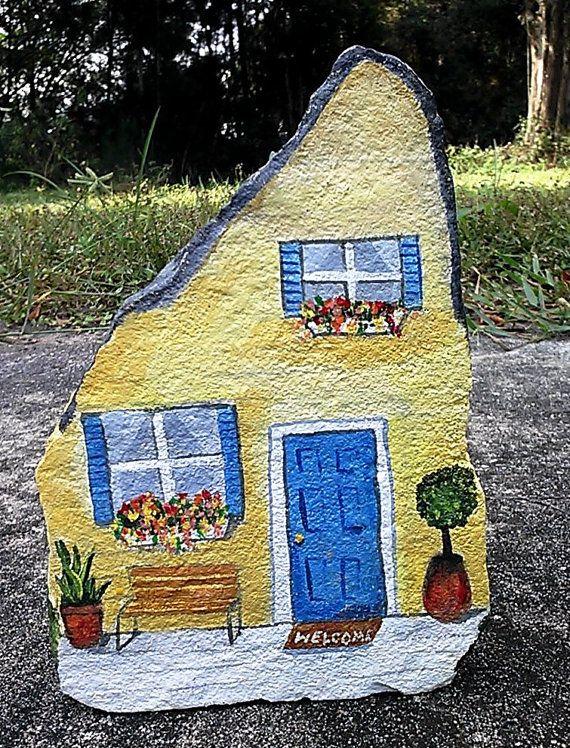 Handpainted rock house doorstop