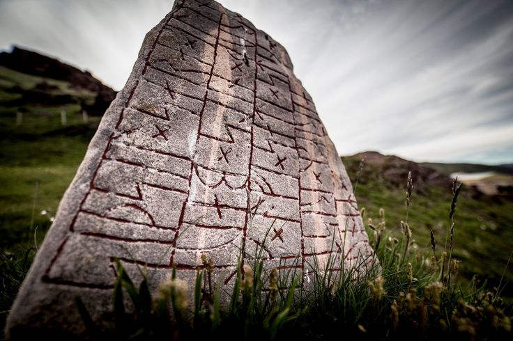 Erik the Red - the discovery of Greenland. [Presumably this rune stone tells the story of Eric the Red arriving and settling in Greenland. JE]