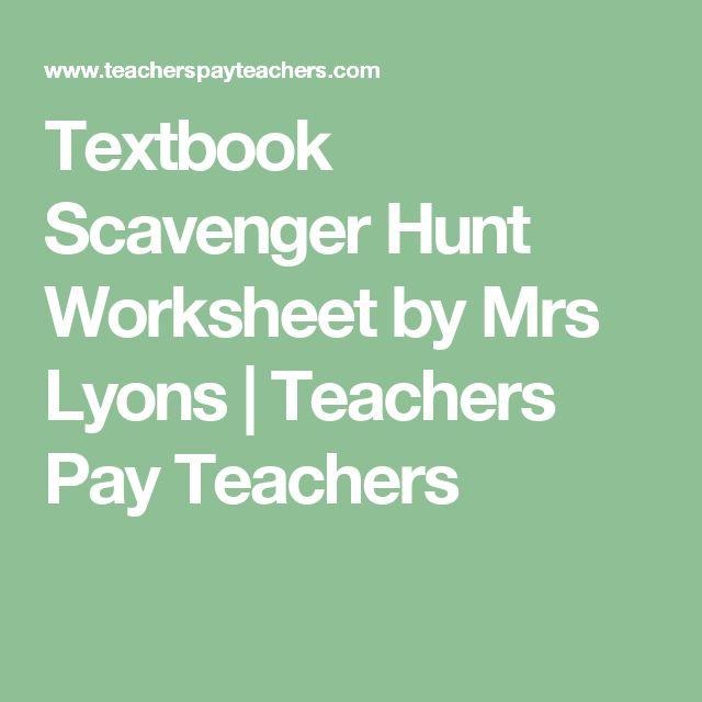 Textbook Scavenger Hunt Worksheet by Mrs Lyons | Teachers Pay Teachers