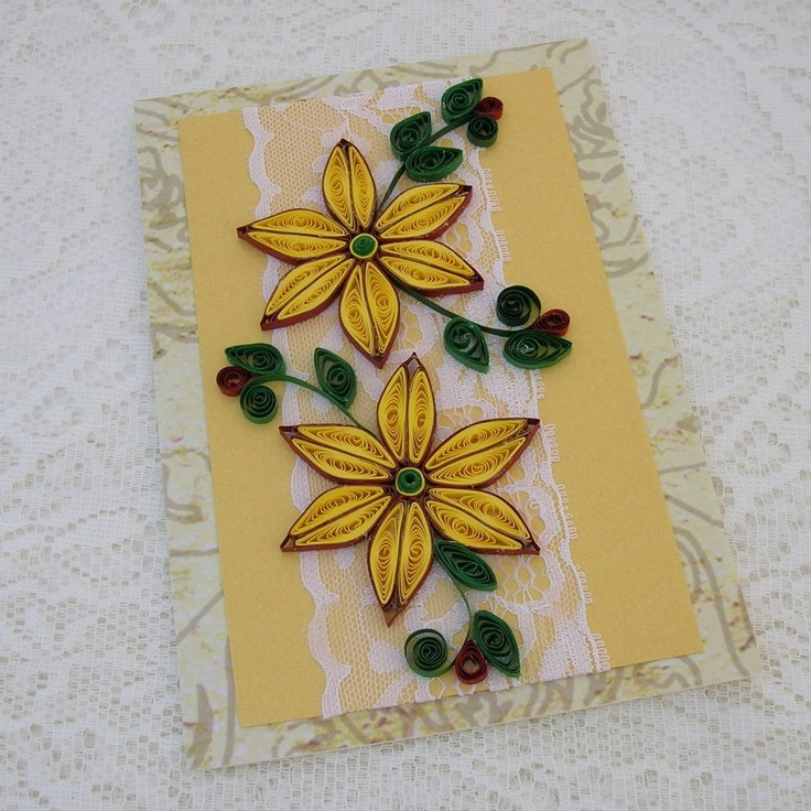 Quilling Card Paper Quilled Yellow DAISIES Entwined on Lace Handmade by Enchanted Quilling on Etsy. $7.50, via Etsy.