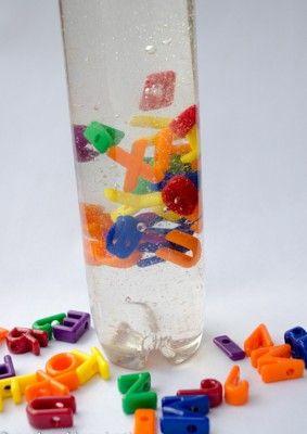 Alphabet Discovery Bottle. From preschoolinspirations.com.