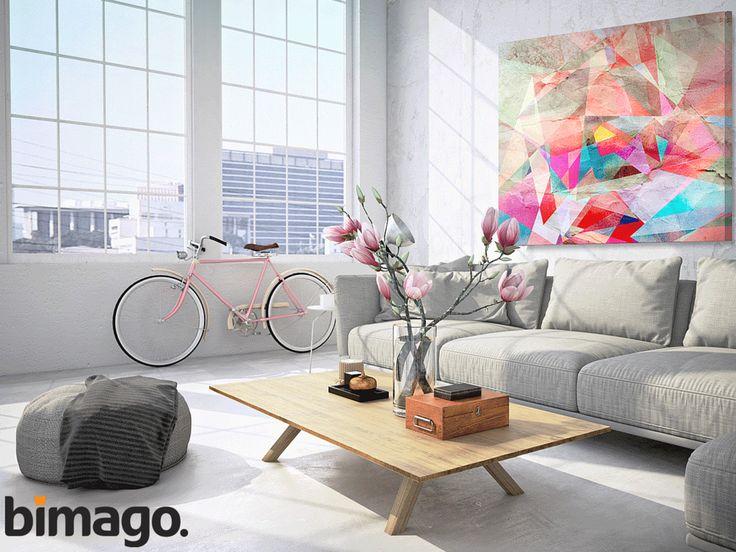 Obraz abstrakcyjny na płótnie będzie odpowiedni nie tylko do industrialnego wnętrza - pasuje też do przytulnego loftu!