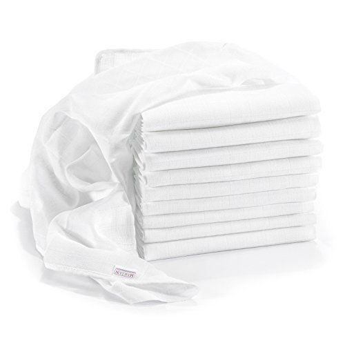 Lange bébé en mousseline de coton | Lot de 10 | 80 x 80 cm | Qualité supérieure – Couleur blanc, double tissage, bordure renforcée,…