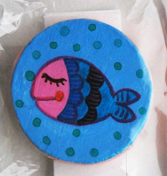 Calamita in legno dipinto di LabLiu su Etsy#calamita #cucina #kitchen #cuisine #bois #legno #wood #illustrazione #pesce #fish