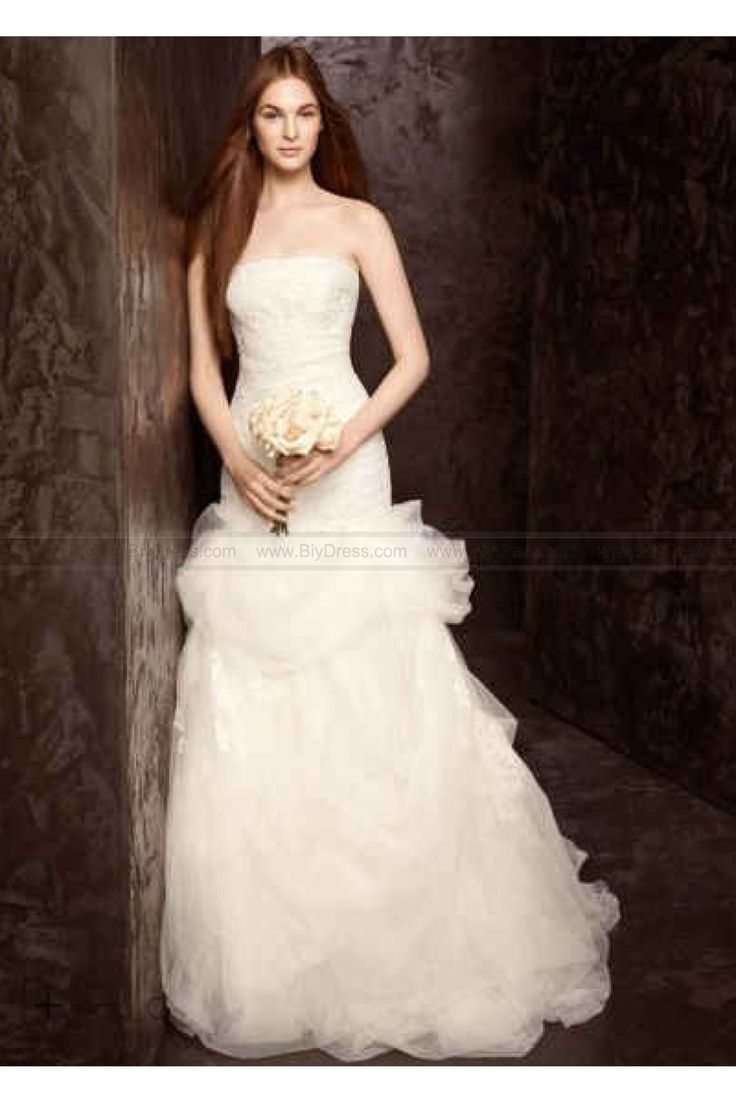 Awesome White by Vera Wang Floral Organza Wedding Dress VW White by Vera Wang Wedding