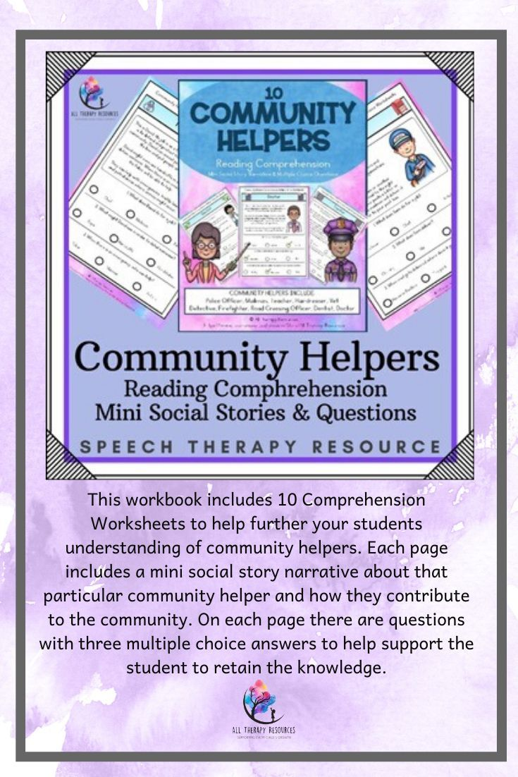 10 Community Helpers Reading Comprehension Mini Social Story Questions Community Helpers Speech Therapy Resources Life Skills Special Education [ 1102 x 735 Pixel ]