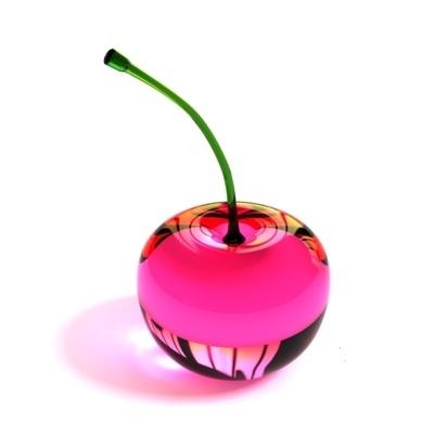 A hot pink glass cherry
