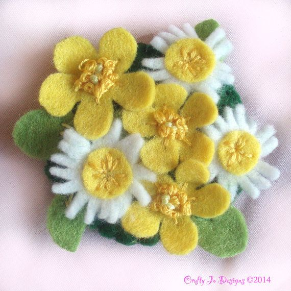 Felt Flower Brooch  Daisies and Buttercups  by CraftyJoDesigns