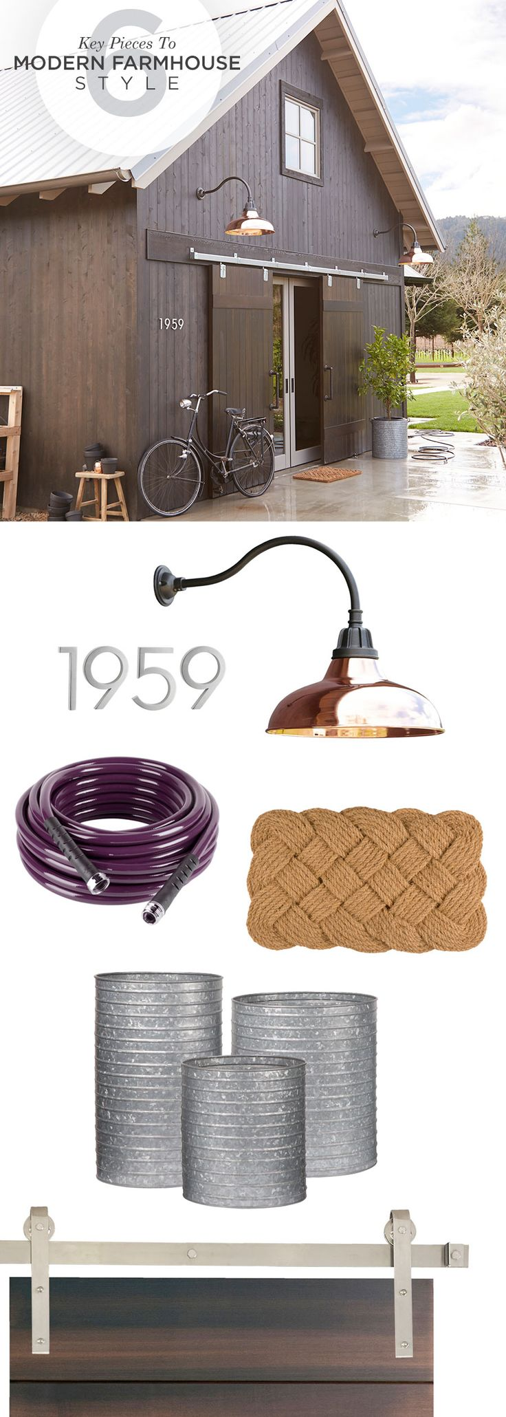 Refresh any outdoor space with warehouse lighting and traditional home accents that bring farmhouse style to life.