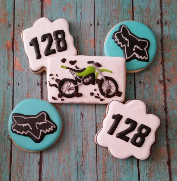 Dirt bike Motorcycle cookies   royal icing   Fox motorsports