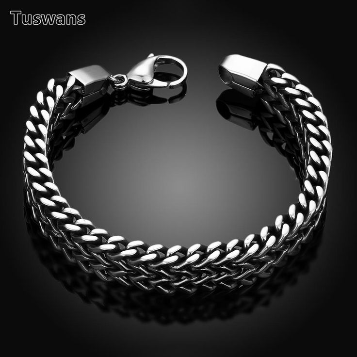 Tuswans Quality 316L Stainless Steel 5*12mm Extra Thick Link Chain Bracelets For Men Punk Rock Wrist Band Figaro Chain(TSYH025) #Affiliate
