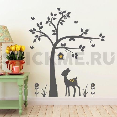 """Детская наклейка на стену   """"Оленёнок под деревом"""""""