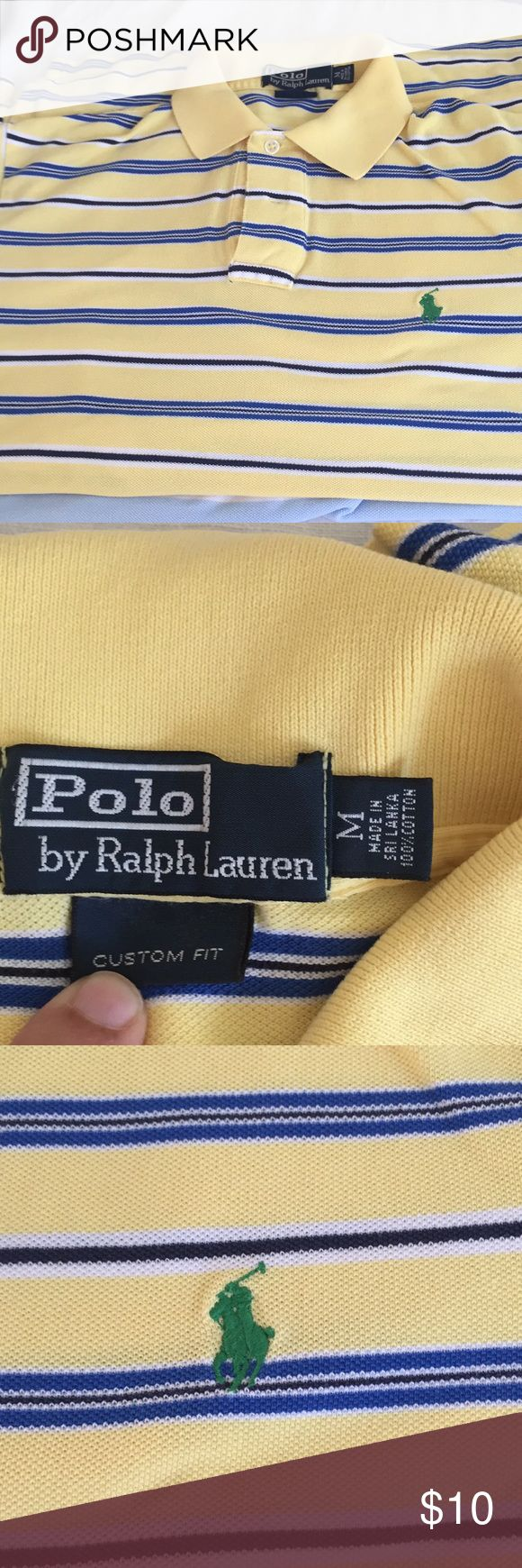 Perfectly broken in custom fit polo Ralph Lauren Custom fit RL polo is classic pique knit blue and yellow stripes has some worn in spots shown in photos. This would make a great layering piece or still looks great with bright crisp colors. Polo by Ralph Lauren Shirts Polos