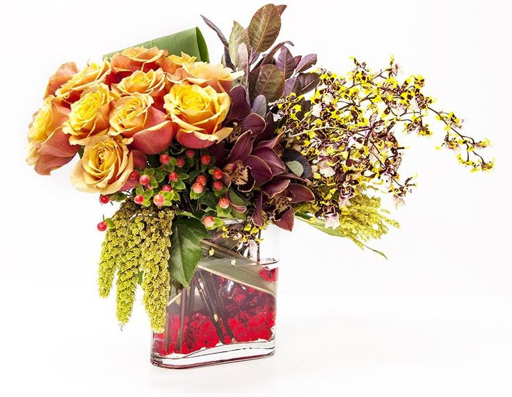 Cherry Brandy Roses and Orchids - Garden World Florist