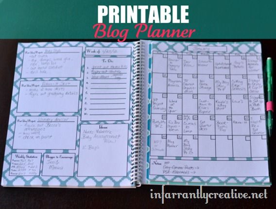 Printable Blog Planner. Great basis for other planners (personal, school, work, home, budget, diet, etc.)