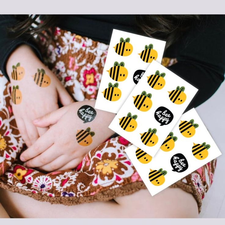 Bee day party kids tattoos. Set of 3 sheets with 18 temporary tattoos in total. Honey bee birthday party favors. Beekeeper gift