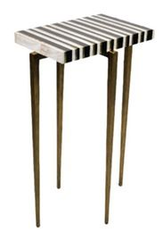 Nimes  Side Table  Contemporary, Transitional, Lacquer, Metal, Natural Material, Side Table by Carlyle Collective