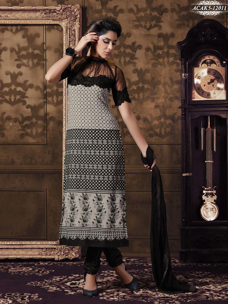 #Black & #Gray #Colour #Georgette #Embroidered #Semi #Stitched #Salwar #Suit @ www.glamyshop.com