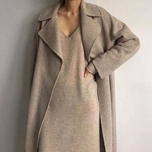 Oatmeal dress and coat.
