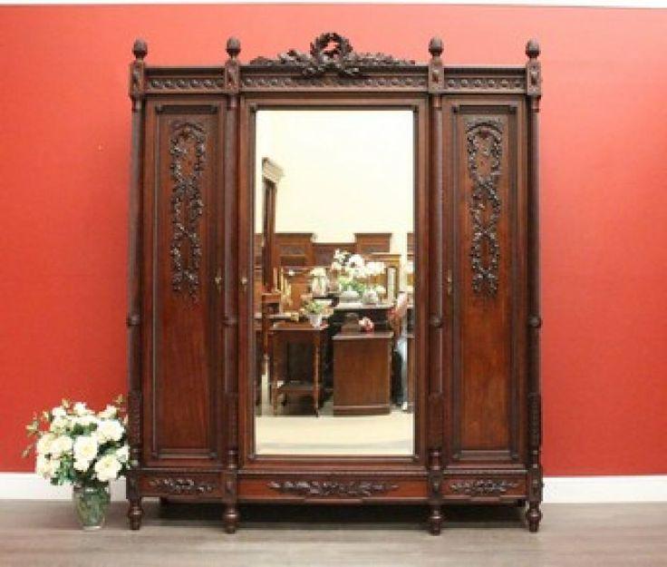 6354 - Grand Antique French Walnut & Mirror Breakfront Wardrobe Armoire