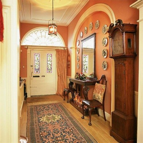 Prettiness!: Hallways Furniture, Trim Color, Decor Ideas, Entry Hallways, Hallways Mirror, Wall Color, Front Doors, Hallways Ideas, Mirror Ideas