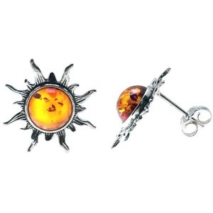 Cherry Amber Sterling Silver Pearl Stud Earrings FejQnqZ