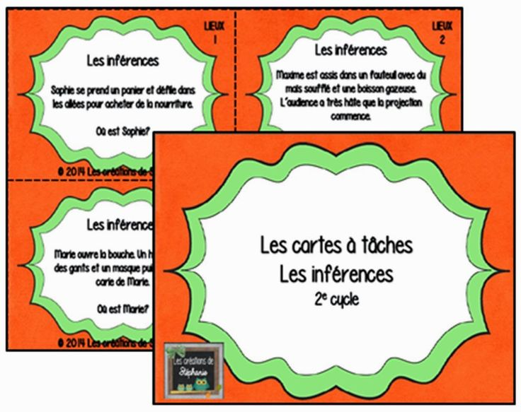 Les créations de Stéphanie : Les cartes à tâches en lien avec les inférences…