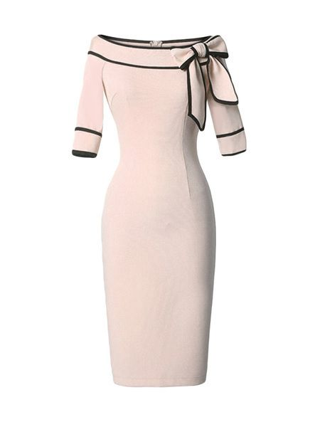 Color Block Bowknot Boat Neck Bodycon-dress                                                                                                                                                                                 Más