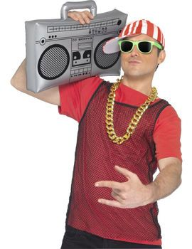 Silver coloured inflatable ghetto blaster. perfect for 70s or  80s or rapper costumes.
