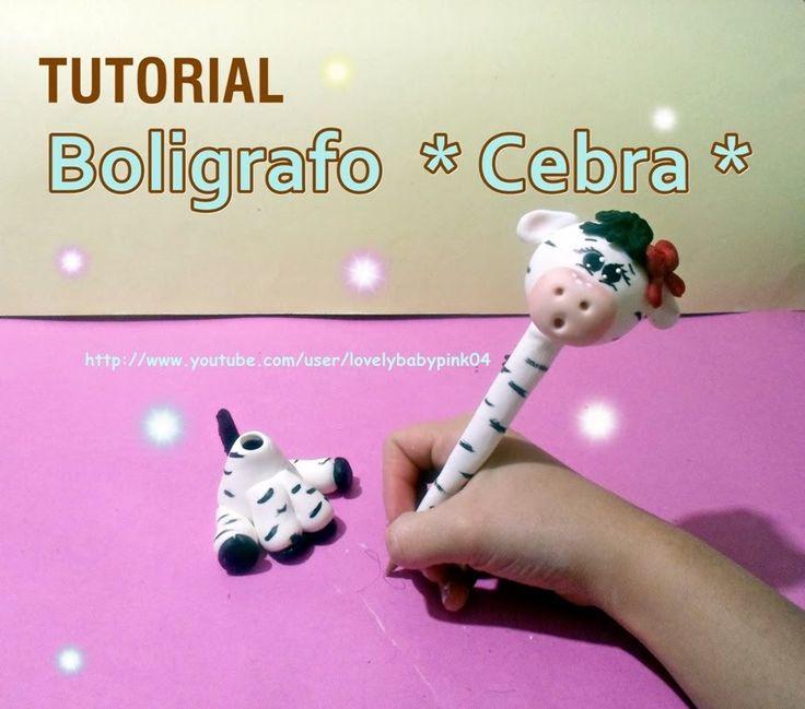 Cebra en porcelana fria Portapluma / Manualidades faciles cold porcelain