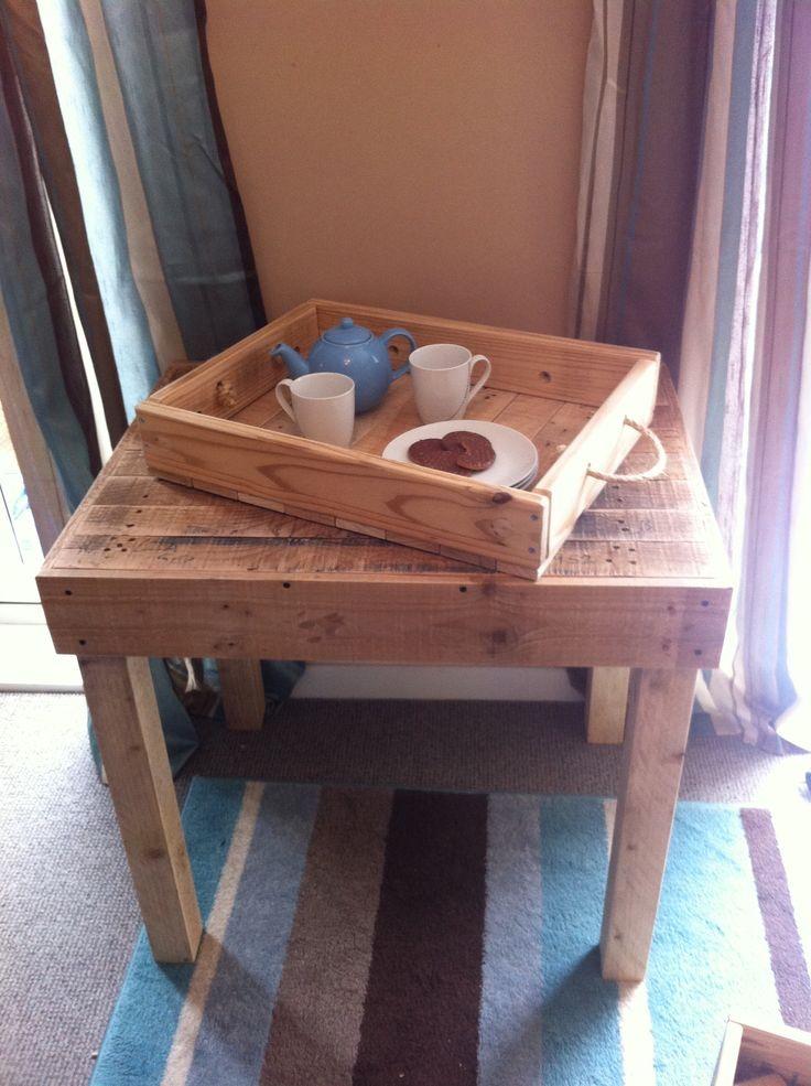 Timber tray made from an old coffee table and pallet wood. Stained with an antique wood effect.