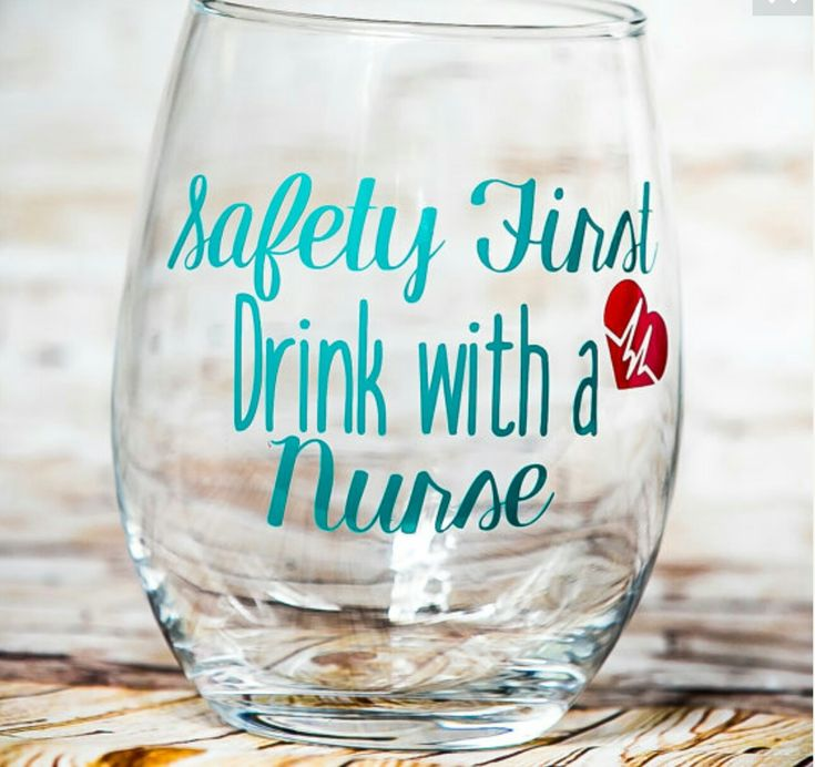 Nursing Graduation?  Give them a gift they're sure to love. They'll enjoy drinking their wine from this adorable stemless wine glass. $10.50, your choice of color for the lettering. Also available in a stemmed wine glass.   www.traceystrendyvinyl.etsy.com