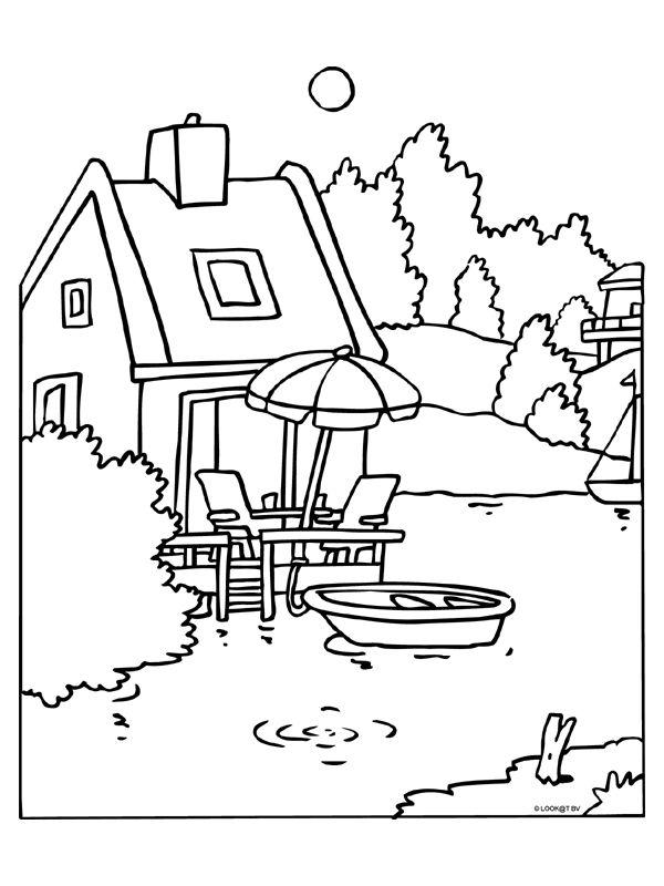 Kleurplaat Gezellig huisje aan het water - Kleurplaten.nl