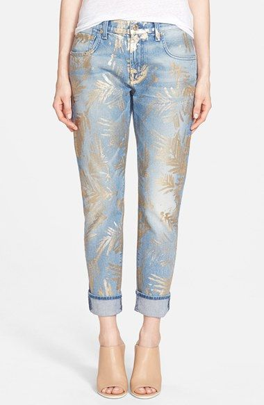 7 For All Mankind® Relaxed Crop Skinny Jeans (Gold Fossil Leaf) available at #Nordstrom