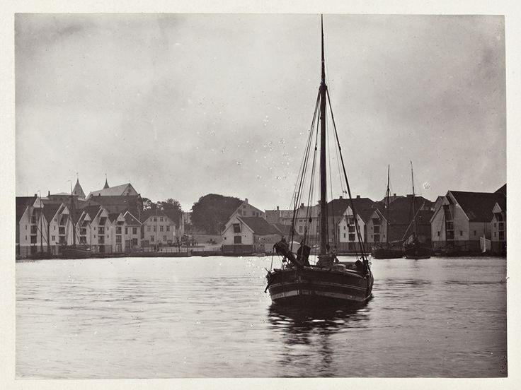 Una veduta del porto di Stavanger nel 1869 (Edward Backhouse Mounsey, Nasjonalbiblioteket/National Library of Norway)