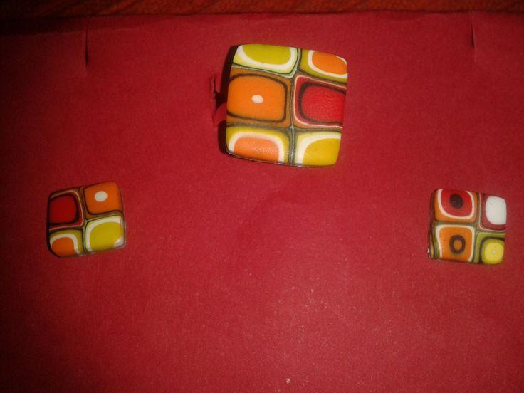 Conjunto anillo-pendientes yellow