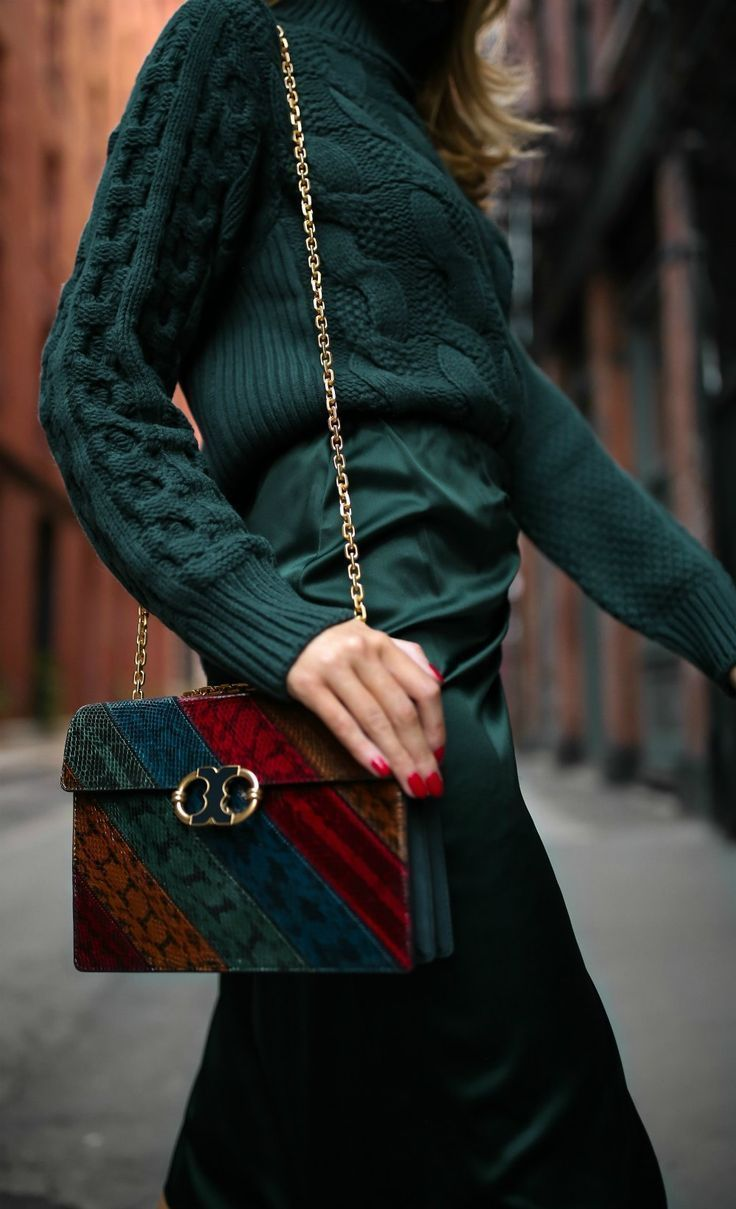 TREND MEMO: Jewel Tones // Cable-knit emerald green sweater, ruched satin emerald green midi skirt, faux fur jacket, black sock boots, multi jewel-toned handbag {Theory, MM6 Maison Margiela, Anthropologie, Tory Burch, Stuart Weitzman, classic style, classy dressing, fall trends, fashion blogger, wear to work, jewel tones}