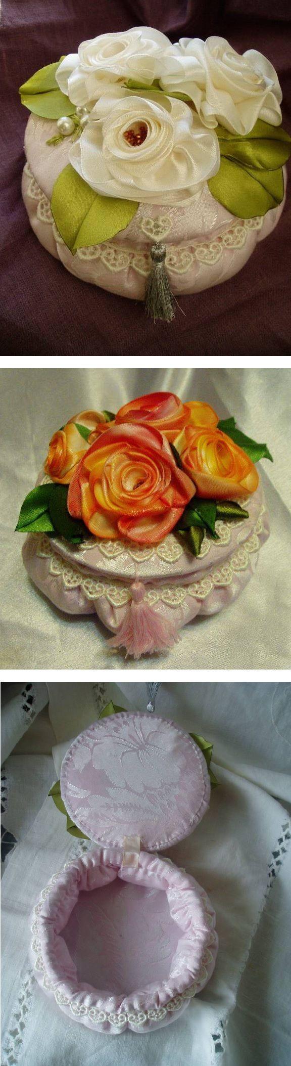 Sweet idea - Fabric trinket box with pretty handmade ribbon flowers.