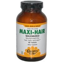 Country Life, Gluten Free, Maxi-Hair, Time Release, 90 Tablets - $14.39