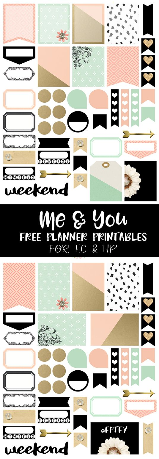 Me and You Free Planner Printables! - Free Pretty Things For You Includes PNG