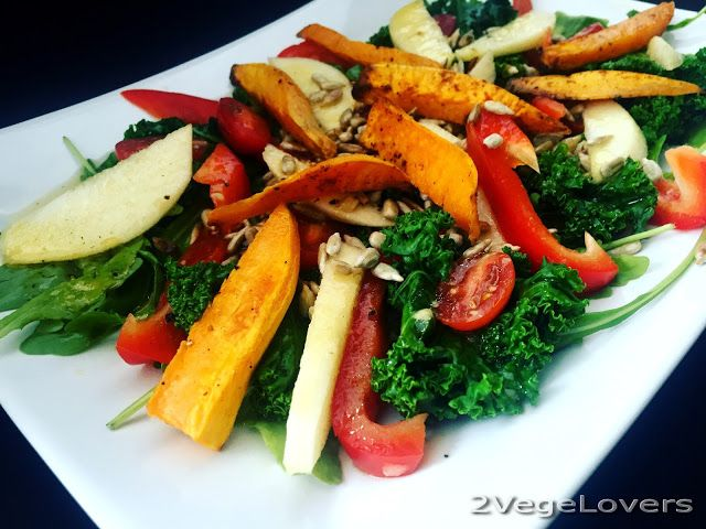 2 VegeLovers: SALAD WITH KALE, APPLE AND ROASTED SWEET POTATO (g...