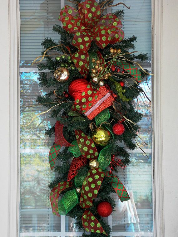 Mesh Ribbon Swags | Christmas Swag with Deco Mesh Ribbon, Christmas Present, Christmas ...
