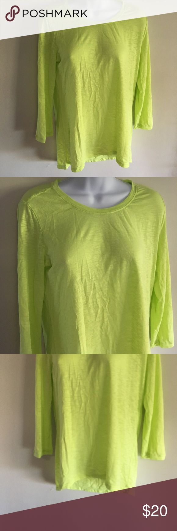 Athleta Hi-Low 3/4 Sleeve Cotton Blend Shirt Neon yellow/green color! Very lightweight. Size small Athleta Tops Tees - Long Sleeve