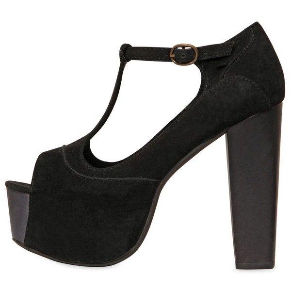 JEFFREY CAMPBELL 120mm Foxy Suede T-Strap Sandals ($163) ❤ liked on Polyvore featuring shoes, sandals, heels, black, wooden heel sandal, black platform shoes, platform heel sandals, heeled sandals and black sandals