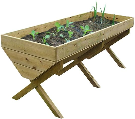 Vegetable Bed - 2m Grow your own vegetables with this pressure treated timber vegetable bed. It features an elegant crossed leg design which raises the bed to the ideal height so that there is no need to kneel to the ground. Features A minimum of 70% of the timber